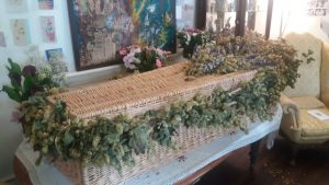 Hops, lavender and other flowers decorated the coffin for this home-spun funeral.