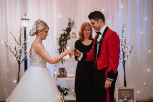 Bride and groom drink a toast is a celebrant only activity