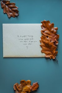 Envelope with oak leaves