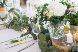 Table laid for a wedding breakfast