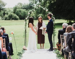 An outdoor wedding ceremony