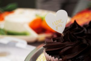 Chocolate muffin with I love you sign
